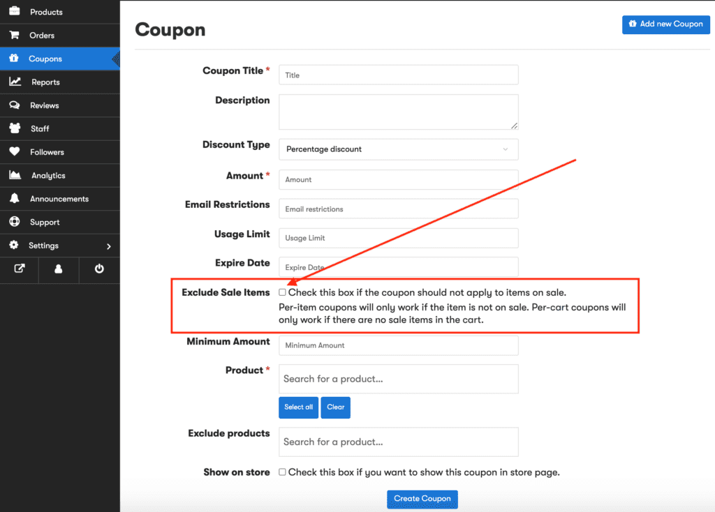 CNKTID Can I exclude sale items from coupons
