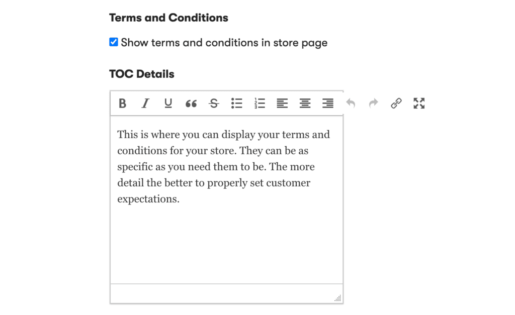 How do I set a TOC (Terms and Conditions)